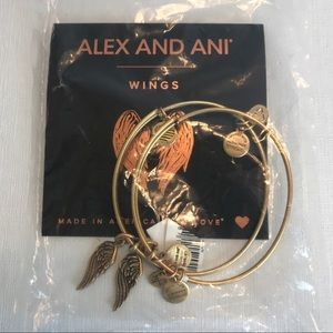 Alex and Ani Set of 2 Wings gold finish bracelets